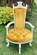 Vintage French Provincial Louis Xvi Rococo Suede Tufted Chair Hollywood Regency