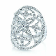 14k White Gold Edwardian Open Oval Lace Diamond Cocktail Ring Right Hand Womens