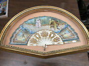 Antique Victorian French Handpainted Silk And Celluloid Hand Fan Shadow Box