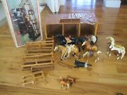 Western Stable Breyer Horses Lot 6 And Hartland Horses Lot 2 Some Saddles And Straps