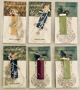 New Set Of 6 Japanese Bookmark Handcrafted Colorful Ribbon Flower Beads Leave