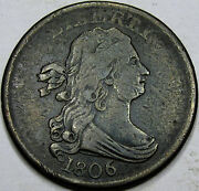 1806 Draped Bust Half Cent Choice Vf-ef... Sm. 6, Stemless Reverse. Nice And Orig.