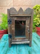 Antique Wooden Handcrafted Indian Small Display Cabinet Box With Glass Door