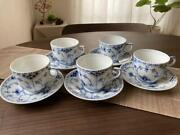 Royal Copenhagen Blue Fluted Half Lace Tea Cup And Saucer Set Of 5 Made In Denmark