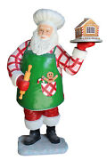 6and039 Baker Santa Claus With Gingerbread House Resin Statue Christmas Kitchen Prop