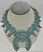 Native American Signed Victor Moses Begay Navajo Silver Turquoise Necklace 157gr