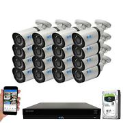 16 Channel Nvr 16 5mp H.265+ Poe Ip Microphone Ai Bullet Security Camera System
