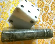Spanish 1950s Alabaster Marble Paperweightoversized Lucky Dice And Booknew And Tag