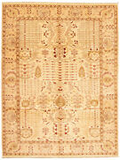 Vintage Geometric Hand-knotted Carpet 9and0390 X 11and03910 Traditional Wool Area Rug