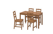 Ikea Jokkmokk Table And 4 Chairs, Solid Pine Antique Stain, 502.111.04 - New