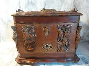 Antique Desktop Liquor Cabinet With Copper Or Brass Decorations Hunting Dogs