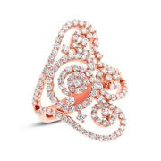 18k Rose Gold Diamond Swirl Lace Ring Cocktail Statement Round Cut Natural 7