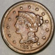 1857 Braided Hair Large Cent Small Date Appealin Circulated Very Scarce Semi Key