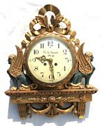 Antique F. Marti Egyptian Revival / Deco Style Swedish Wall Clock Cartel Style
