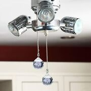 8 Pcs Crystal Prisms Charm Pendant Ceiling Fan Pull Chain Extender With Ball Cha