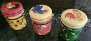 """Susan Winget Small """"rooster"""" Canisters Hinged Lid Jars Set Of 3 Beautiful Color"""