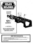 Foley Belsaw Model M-14 Sawmill Instruction And Parts Manual