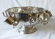 Large Silver Plate On Copper Punch Bowl / Champagne Cooler Six Cups And Ladel