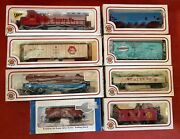 Lot Of 8 Bachmann Ho Scale Train Cars With Boxes Santa Fe Engine Make Offer