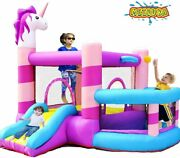 New Kids Inflatable Bounce House Castle With Slide 350w Blower Ball Rim Pit Usa