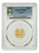 1854 G1 Pcgs Ms62 Type 2 Scarce Type 2 Variety - 1 Gold Coin