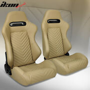 Universal Pair Reclinable Racing Seats Dual Sliders Brown Puandcarbon Leather Back