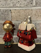 Peanuts Snoopy Charlie Brown Glass Blown Ornament Hand Painted Set Of 2 Rare