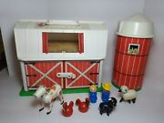 Vintage Fisher Price Little People Play Family Farm Barn Silo Animals 9 Pieces