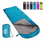 Camping Sleeping Bag Warm And Cool Weather Indoor Outdoor Use For Kids Adults