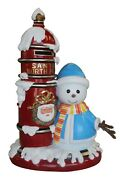 Snowman Boy With 4.5and039 Santa Mailbox Resin Statue Christmas Prop Winter Display