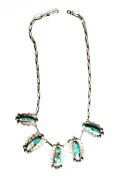 Sterling Lonnie Willie Turquoise Necklace 32-36mm Pendants 4mm 17-3/4 Necklace
