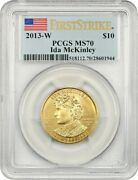 2013-w Ida Mckinley 10 Pcgs Ms70 - First Spouse .999 Gold