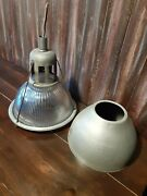 """Vintage 12"""" Wide Holophane 684 Industrial Light Fixture. Factory Ribbed Glass"""