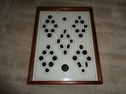 Framed Shadow Box Antique Buttons Old Glass Gold Lustre Square Round Octagon Rec