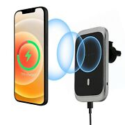 15w Magnetic Wireless Car Charger Vent Holder Mount With Mag-safe Cases Silver