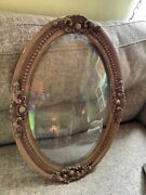 Vtg Antique Gold Victorian Wood And Gesso Oval Convex Bubble Glass Picture Frame