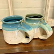 Indian Mountain Pottery   Watts Signed   Turquoise Stripe Brown Speckle Mugs   2