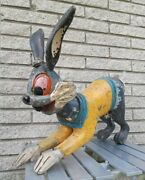 X Rare Carved Wood Bugs Bunny Henry Devos French Carousel Figure 23 Rabbit 50and039s