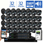 32ch Nvr 32 X 5mp Two Way Audio Full-time Color Poe Ip Security Camera System 8t