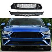 Gt Paint Black Front Mesh Grille Grill Cover 2pcs Fit For Ford Mustang 2018-2021