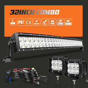 32/34inch 180w Dual-row Led Light Bar+wiring Combo Offroad 4wd Truck Suv Atv Rzr
