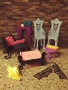Lot Of Monster High Freaky Fusion Catacombs Castle Doll Furniture + Accessories