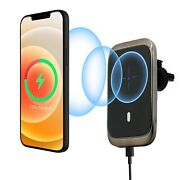 15w Magnetic Wireless Car Charger Vent Holder Mount With Mag-safe Cases Gold