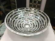 18 Inches White Marble Kitchen Vessel Shiny Gemstone Overlaid Work Sink For Home