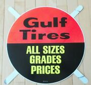 Vintage Original Gulf Oil Company Round Tire Metal Sign - New Old Stock
