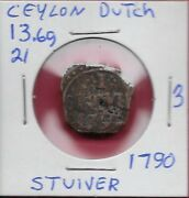 Ceylondutch Occupation 1 Stuiver 1790 Cand039 Above And039vocand039 Monogramcolombo Mint
