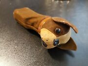 Vintage Schuco - Patent Made In Germany Dog Head Puppet Hand Handle Toy Brown