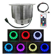 Led Light Stainless Steel Drink Cup Holder With Remote For Marine Boat