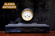 Antique 1920s Victorian French Gold Inlay Marble Stone Mantel Clock Art Nouveau