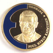 Denmark Poul Rasmussen 1998 Unc Medal 40mm 32g Gold Plated Copper With Coa. B8